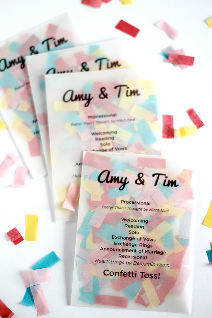 DIY Confetti Ceremony Programs