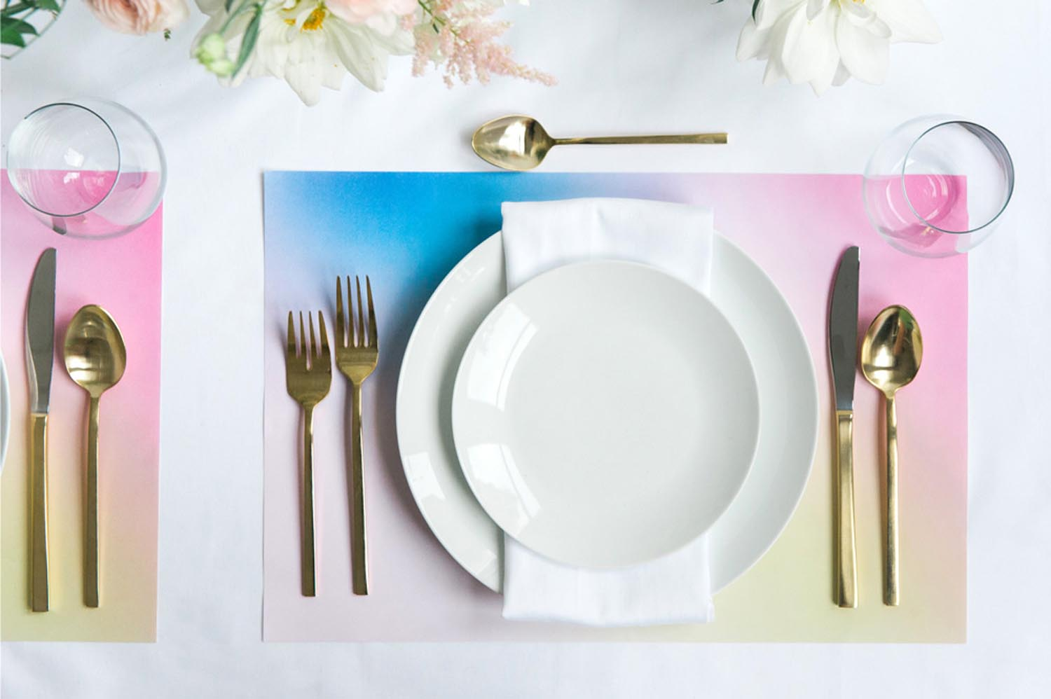 modern wedding placemats colorful