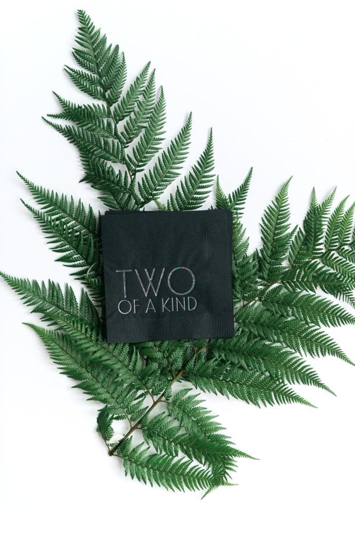 black-cocktail-napkins-ferns