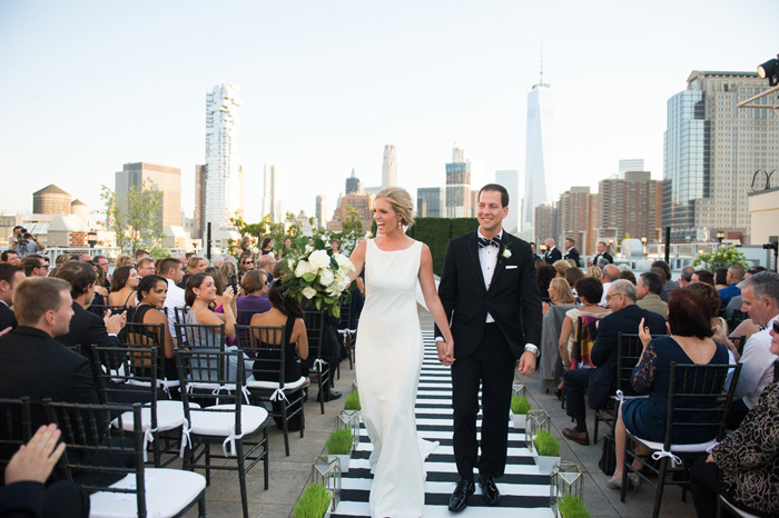 Ceremony Reception Venue Tribeca Rooftop Event Planner Lemon Lime Design Bride S Dress Am Veil Sara Gabriel Hair