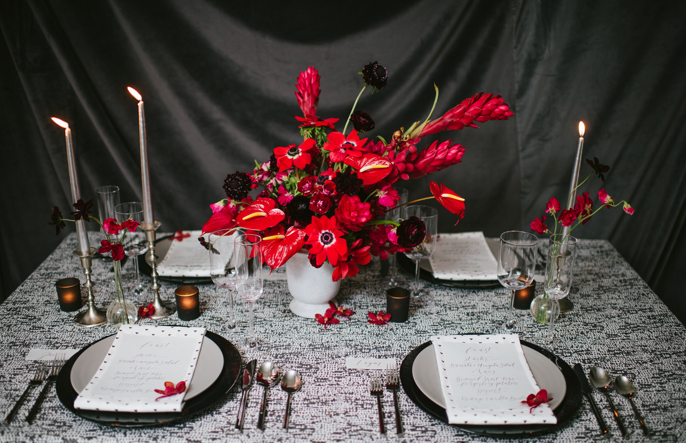 Red And Black Valentine S Day Editorial Brooklyn Floral And Event